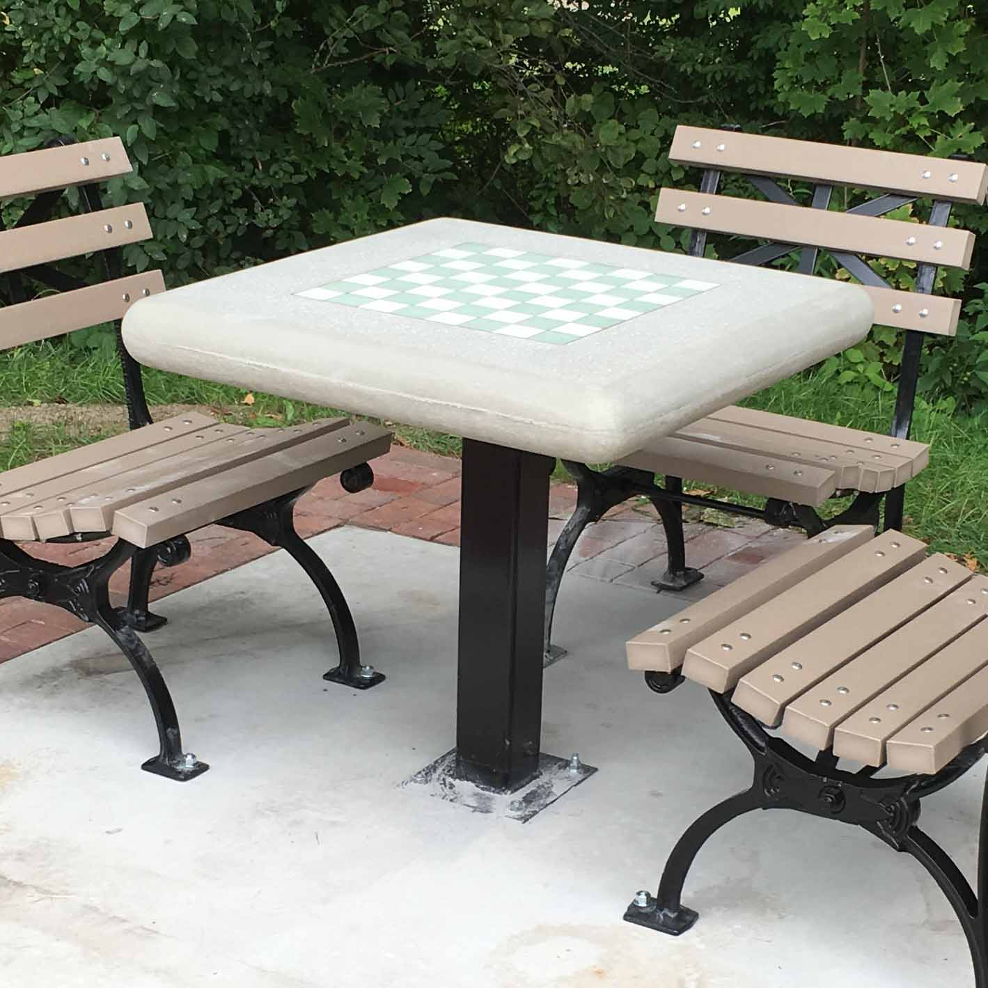 Captivating Concrete Chess Table With Surface Mount Steel Post $1,958 (Item #715)